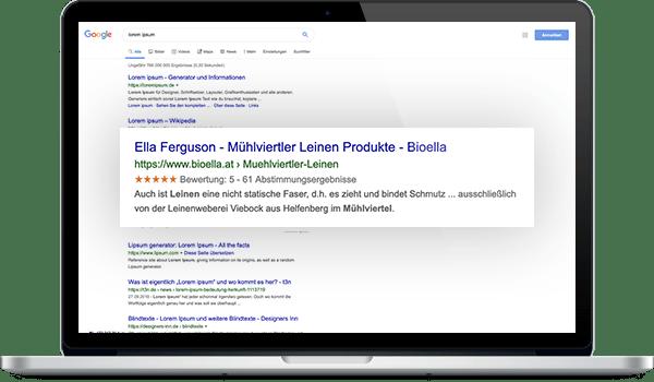 Bewertungsübersicht bei Google