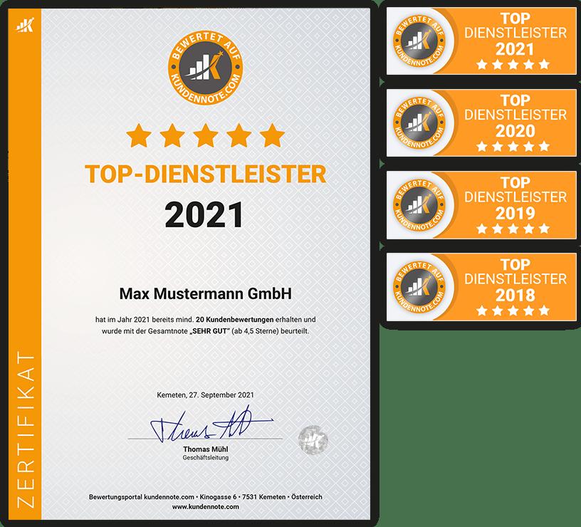 Auszeichnung zum Top-Dienstleister